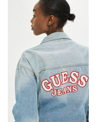 Guess - Oversized Denim Logo Jacket By Guess Jeans - Lyst