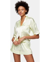TOPSHOP Green Tie Satin Pajama Set
