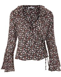 Glamorous - Ditsy Wrap Blouse By - Lyst