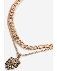 TOPSHOP - Lion Pendant Necklace - Lyst