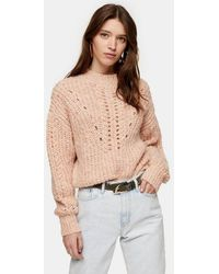 TOPSHOP Pink Textured Pointelle Knitted Jumper