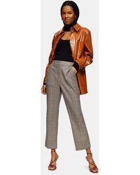 TOPSHOP Brown Check Kick Flare Pants
