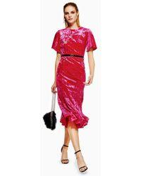 TOPSHOP - Petite Velvet Bleted Midi Dress - Lyst