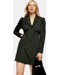 TOPSHOP Spot Angel Sleeve Midi Dress - Black