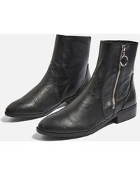 TOPSHOP - Kick Leather Boots - Lyst