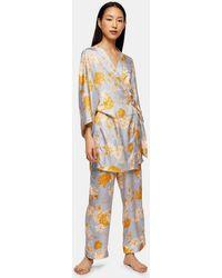 TOPSHOP Peignoir habillé à fleurs et pois - Multicolore