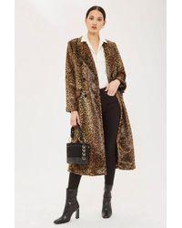 TOPSHOP - Leopard Print Coat - Lyst