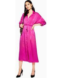 TOPSHOP - Satin Midi Shirt Dress - Lyst