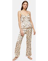 TOPSHOP Feather Print Pajama Cami - Natural