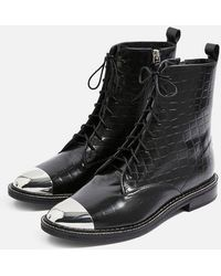 TOPSHOP - Axel Lace Up Crocodile Boots - Lyst