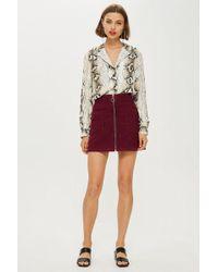 TOPSHOP - Burgundy Corduroy Zip Up Skirt - Lyst