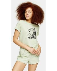 TOPSHOP Sage Ce Soir Frill Pajama Set - Multicolor