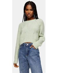 TOPSHOP - Int Swirl Cropped Sweater - Lyst