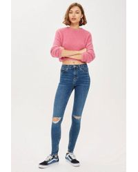 TOPSHOP - Id Blue Ripped Jamie Jeans - Lyst