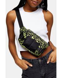 TOPSHOP Lime Green Leopard Print Bum Bag
