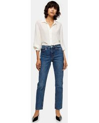 TOPSHOP Considered Mid Blue Raw Hem Organic Cotton Straight Jeans