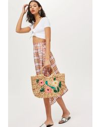 TOPSHOP - Floral Embroidered Straw Tote Bag - Lyst