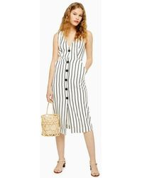 TOPSHOP Ivory Stripe Pinafore Midi Dress - White