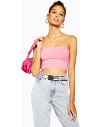 0cce4a461de06b Lyst - TOPSHOP Petite Scoop Ribbed Crop Cami in Pink