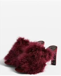 TOPSHOP - Revival Feather Mules - Lyst