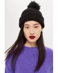 3102c3f8985 TOPSHOP - Knitted Faux Fur Pom Pom Hat - Lyst