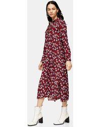 TOPSHOP Robe florale mi-longue bordeaux à volants - Rouge