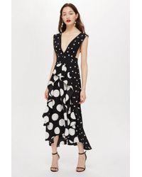 TOPSHOP - Monochrome Spot Pinafore Dress - Lyst