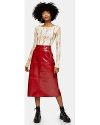 TOPSHOP Cherry Red Vinyl Seam Midi Skirt