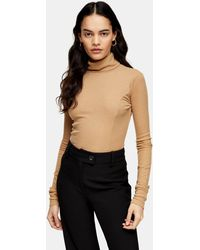 TOPSHOP Roll Neck Sweater By Boutique - Natural