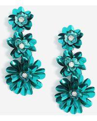 TOPSHOP - sequin Drop Flower Earrings - Lyst