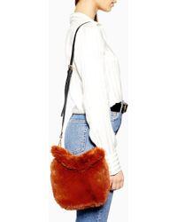 TOPSHOP - Teddy Faux Fur Bucket Bag - Lyst