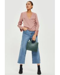 TOPSHOP - Slinky Striped Wrap Blouse - Lyst