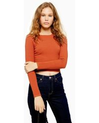 TOPSHOP - Rust Long Sleeve Picot Trim Top - Lyst