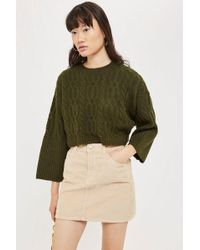 TOPSHOP - Petite Super Soft Cable Cropped Jumper - Lyst
