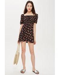 TOPSHOP - Petite Spot Print Shirred Bodycon Dress - Lyst