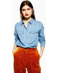 TOPSHOP Chemise en jean denim ajustée - Bleu