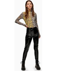 TOPSHOP Faux Leather Vinyl Jamie Jeans - Black