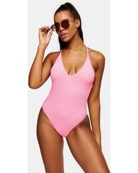 TOPSHOP Pink Crinkle Belted Swimsuit
