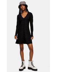TOPSHOP - Plain Black Cardigan Flippy Dress - Lyst