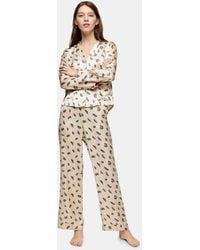 TOPSHOP Feather Print Satin Pajama Pants - Natural