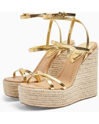 TOPSHOP Willa Gold Wedge Sandals - Metallic