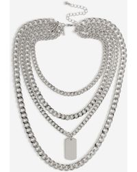 TOPSHOP - Tag Multirow Necklace - Lyst