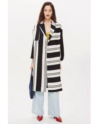 TOPSHOP - Linen Striped Duster Coat - Lyst