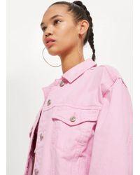 TOPSHOP - Bubblegum Pink Boxy Denim Jacket - Lyst