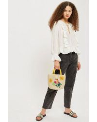 TOPSHOP - Ruffle Tie Front Blouse - Lyst