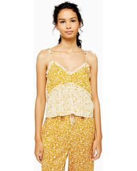 TOPSHOP Ochre Mixed Floral Print Pajama Cami - Yellow
