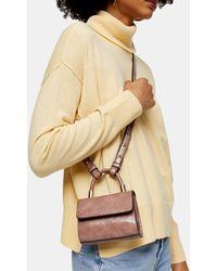 TOPSHOP Mini sac à bandoulière croco Cindy - Neutre