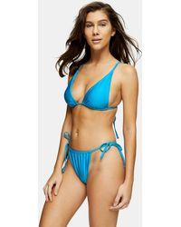 TOPSHOP Considered Shiny High Tie Bikini Bottoms - Blue