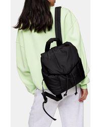 TOPSHOP Black Nylon Puffer Backpack
