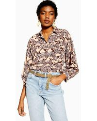 e69ad761bb3fd2 TOPSHOP Leopard Print Side Striped Shirt - Lyst